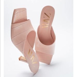 Zara Animal Print High Heeled Mules